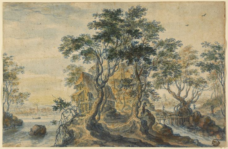 River Landscape with House on a Rocky Island; Isaac Major (Flemish / German, 1588 - after 1642); 1620 to 1630; Watercolor, squared in black chalk; 23.5 × 35.9 cm (9 1/4 × 14 1/8 in.); 88.GA.25; J. Paul Getty Museum, Los Angeles, California