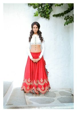 Light Lehengas - White and Red Lehenga | WedMeGood Plain White Full Sleeves Blouse with a close neck, Red Raw Silk Lehenga with Gold Sequins Work by Jayant Reddy. Find more lehenga designs by Jayanti Reddy on wedmegood.com #wedmegood #lehenga #red #sequin #work