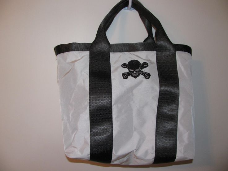 tote bag made from airbag material and seat belt straps from https://www.facebook.com/pages/Sandys-Sewing/300104010039371