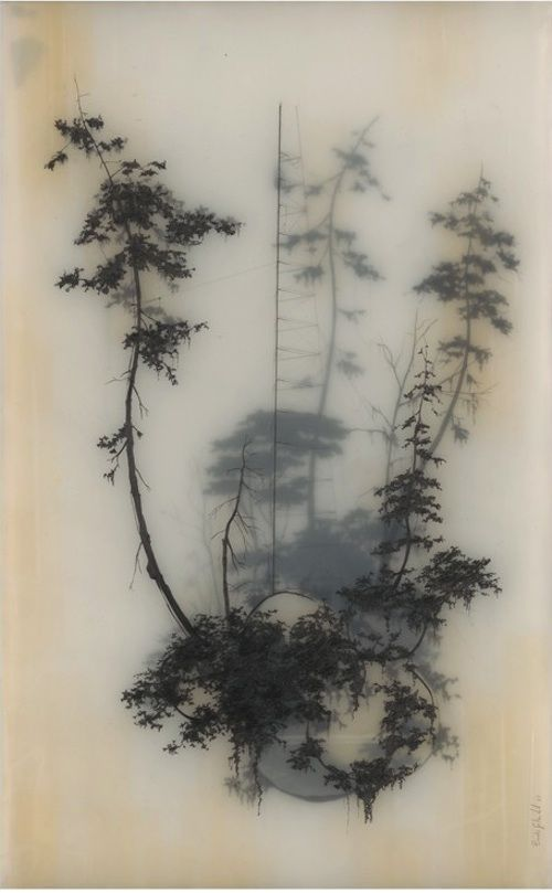 breathtaking - this makes me wonder if the artist used a layer of vellum between the to sets of trees... neat effect however it was done.