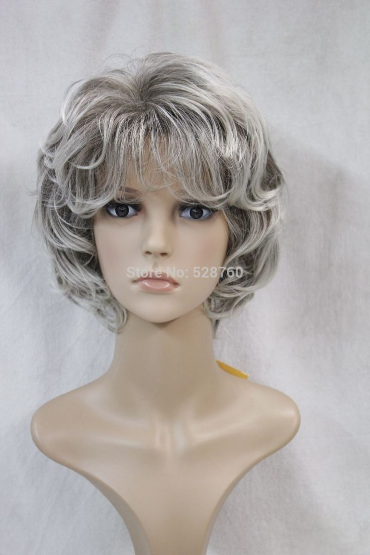Stunning Synthetic short silver curly wig real hair like High temperature resistant hair  Free shipping