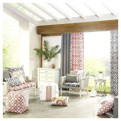 Pismo Printed Fretwork 3M Scotchgard Outdoor Panel Coral - 50x95, Coral Red