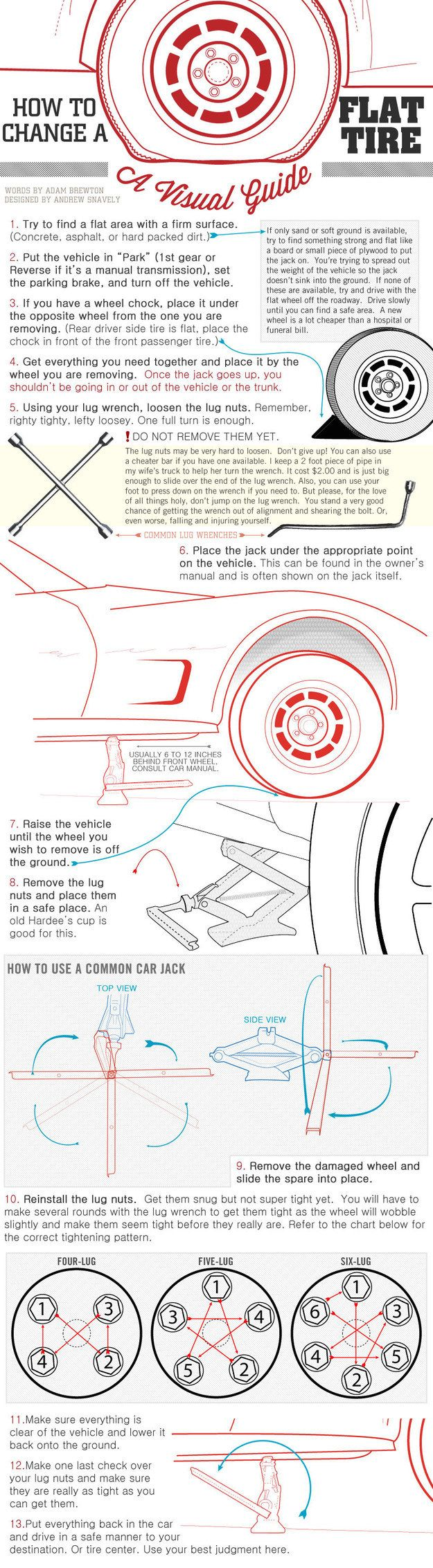 What to do when you have a flat. | XX Essential Cheat Sheets For Everyone Who Drives A Car