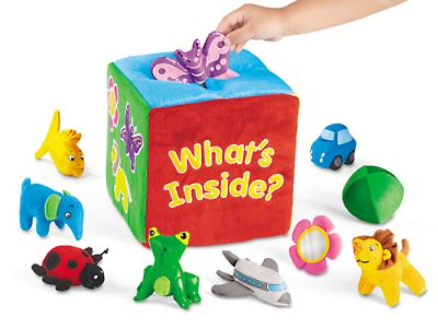 This is the best gift I ever got for my kids!  It is great starting as young as 6 months and my 2 1/2 year old still plays with it.  There is so much you can do with it and it is well worth the money!  Soft Feely Box at Lakeshore Learning