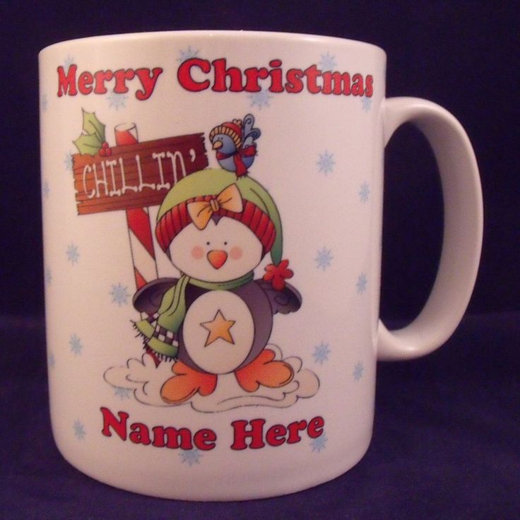 Personalised Christmas Chillin Penguin Mug - Coaster - Cup - Novelty - Gift