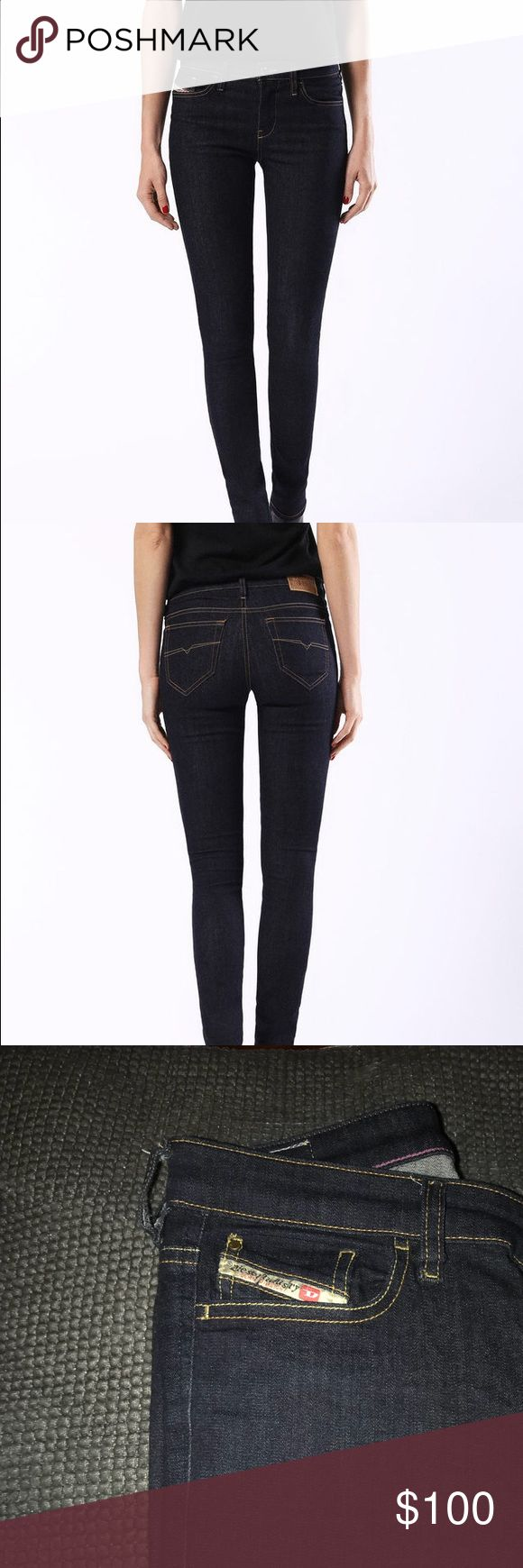 Diesel ski see super skinny jeans Skinzee super skinny by diesel style 0813C. Retails for $178. Worn twice, perfect condition. It's a size 28 but Diesel runs kind of small so fits the average size 27. Lotssss of stretch so if you're a 28 it will still fit. So stretchy it's almost a legging jean. Diesel Jeans Skinny