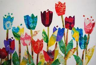 Knutsel een mooi veld vol bloemen voor het voorjaar met wat verf, restjes papier en lijm. Goedkope knutsel tip van Speelgoedbank Amsterdam voor ouders en kinderen. Recycle wordt upcycle, goedkoop knutselen.