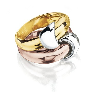 Roberto Coin Collection, Interlocking Ring in Tri-Color 18kt Gold,  Other Views  Related Items  	  Roberto Coin Collection, Interlocking Ring in Tri-Color 18kt Gold, (Ref.:3000151302)