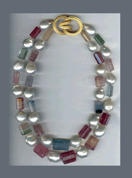 N-5 18K yellow gold angela clasp, afghan tourmaline and pearl necklace
