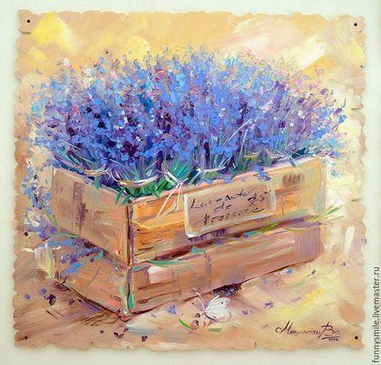 """Картины цветов ручной работы. Композиция из трех  картин маслом на дощечках """"Lavender Provence"""". ~~~Живопись~~~ Валери Меценатовой. Ярмарка Мастеров."""