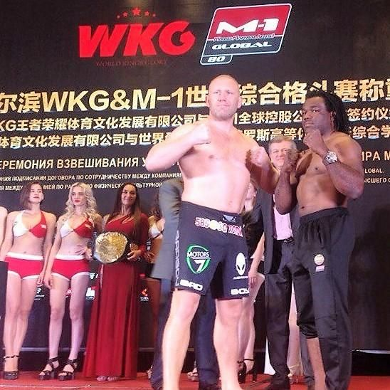"http://realcombatmedia.com/2017/06/m-1-challenge-80-weights-pictures-video-china/Follow M-1 CHALLENGE 80 OFFICIAL WEIGHTS FROM HARBIN, CHINA MAIN CARD MAIN EVENT – HEAVYWEIGHTS — 3 X 5 (L) Sergei ""The Paratrooper"" Kharitonov (24-6-0, M-1: 3-0-0), Russia 266 ½ lbs. vs. (R) ""The African Assassin"" Rameau Thierry Sokoudjou (11-5-0, M-1: 2-1-0), USA 230 lbs. M-1 CHALLENGE FEATHERWEIGHT CHAMPIONSIP – 5 X 5 (L)Ivan ""Buki"" …"