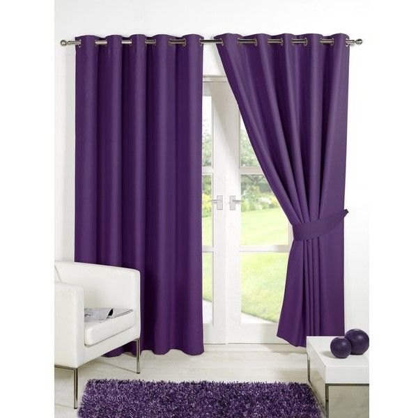 Dreamscene Blackout Eyelet Curtains - Plum ($83) ❤ liked on Polyvore featuring home, home decor, window treatments, curtains, purple, eyelet curtains, blackout drapery, purple blackout curtains, lining curtains y blackout window coverings