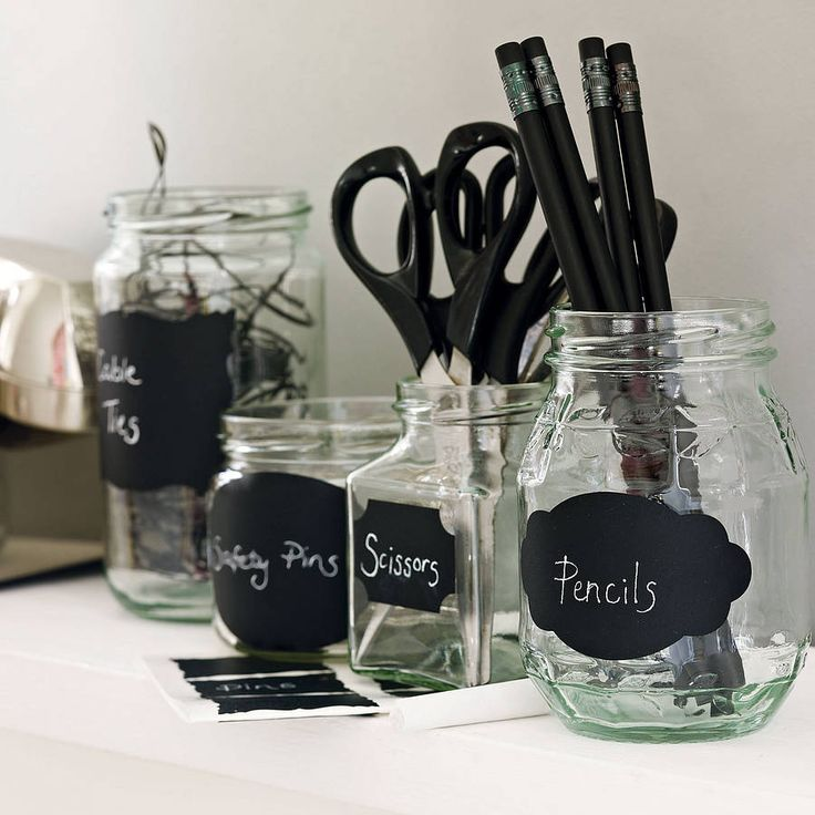 These chalkboard labels come in several styles. Going to get these to stick on some of my storage jars, think I can find some other uses too.