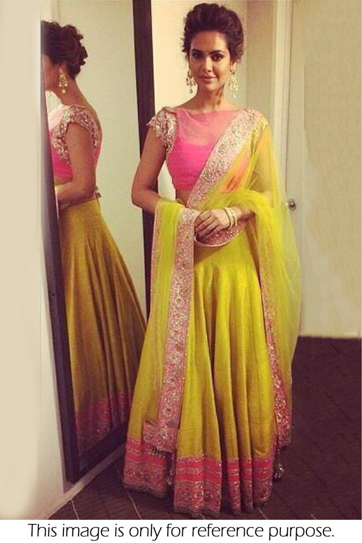 Bollywood Style Esha Gupta Silk Lehenga In Yellow and Pink Colour NC1509 Yellow and Pink Colour Silk Fabric Designer Bollywood Lehenga Comes With Blouse Which Can Be Stitched Up To Size 44.This Bollyw...