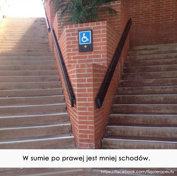 Po prawej jest mniej schodów :)
