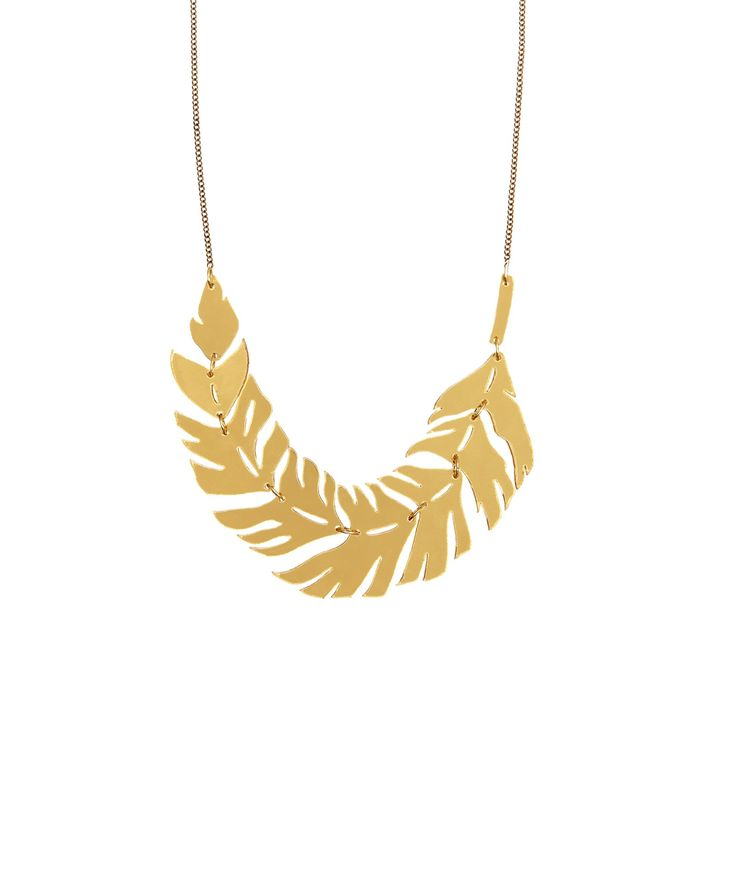 Raven Feather Necklace, Gold - Reveal your dark side with the striking Raven Feather Necklace. This shining silhouette is brought to life in gold mirror acrylic with intricate laser cut detail and linked together on a golden chain. Exclusive to Tatty Devine > http://www.tattydevine.com/raven-feather-necklace-gold