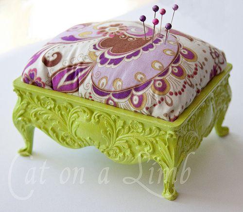 jewlery box turned pin cushion