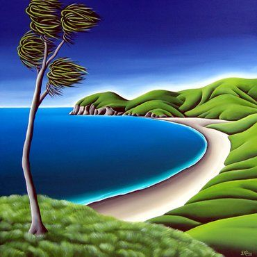 Painting 'Port Jackson' Coromandel by Kiwi Artist Diana Adams. Art New Zealand