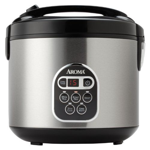 Aroma ARC-150SB 20-Cup (Cooked) Digital Rice Cooker and Food Steamer, Black/Silver:Amazon:Kitchen & Dining