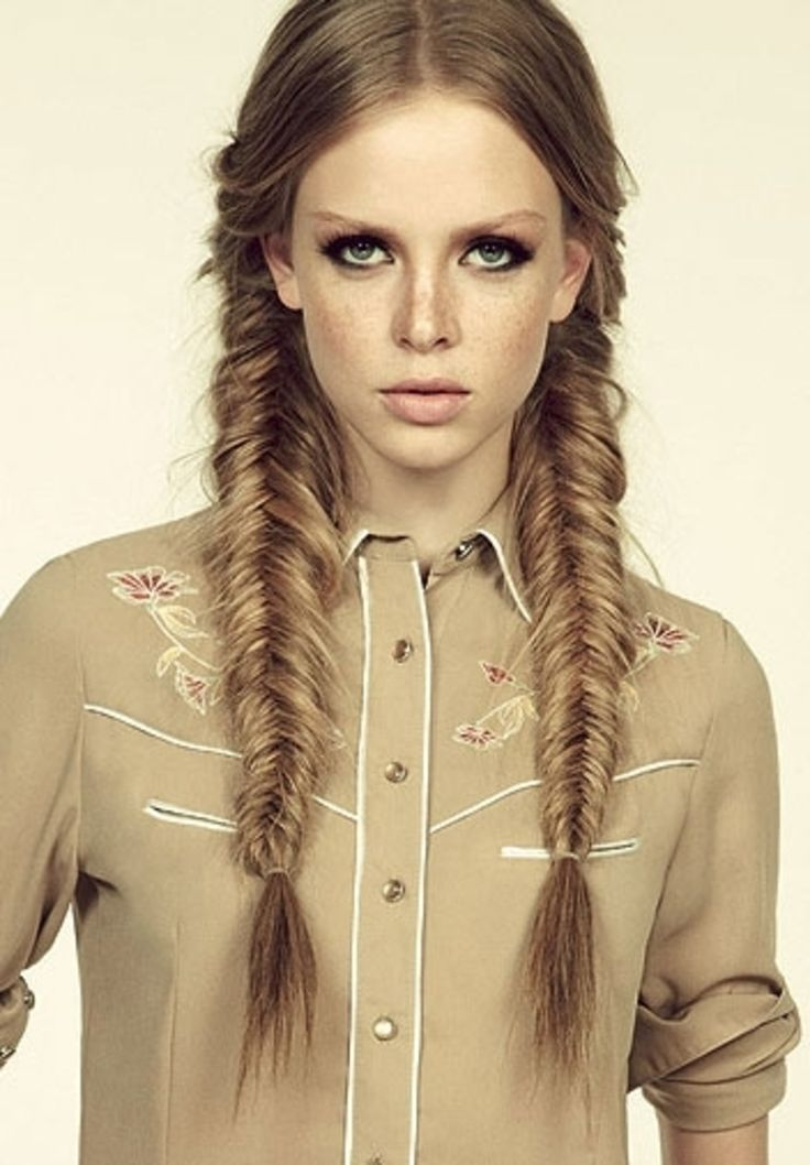 38. #Pigtail Fishtail #Braids - 43 Fancy #Braided Hairstyle #Ideas from Pinterest ... → Hair #Waterfall