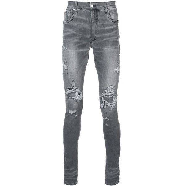 Amiri distressed skinny jeans ($1,025) ❤ liked on Polyvore featuring men's fashion, men's clothing, men's jeans, grey, mens distressed jeans, mens grey skinny jeans, mens destroyed jeans, gray mens jeans and mens destroyed skinny jeans