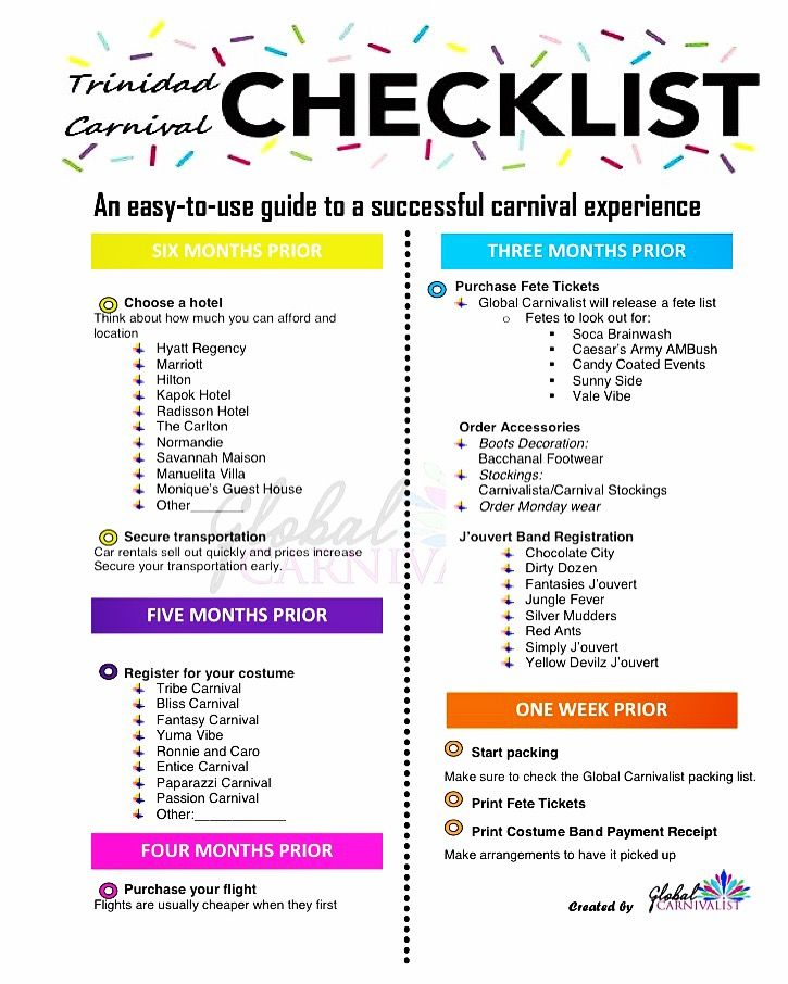Trinidad Carnival 2017 Checklist. Planning to go to trinidad Carnival