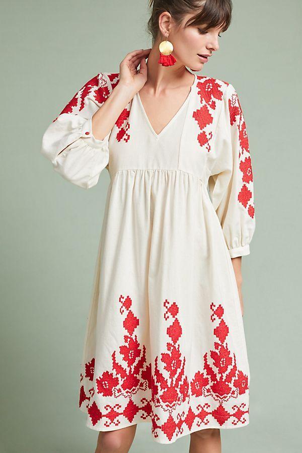 Jora Embroidered Peasant Dress