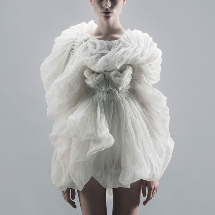 Wearable Art - delicate, ethereal dress with sculptural shape, structured pleats and soft rippling textures // Yiqing Yin