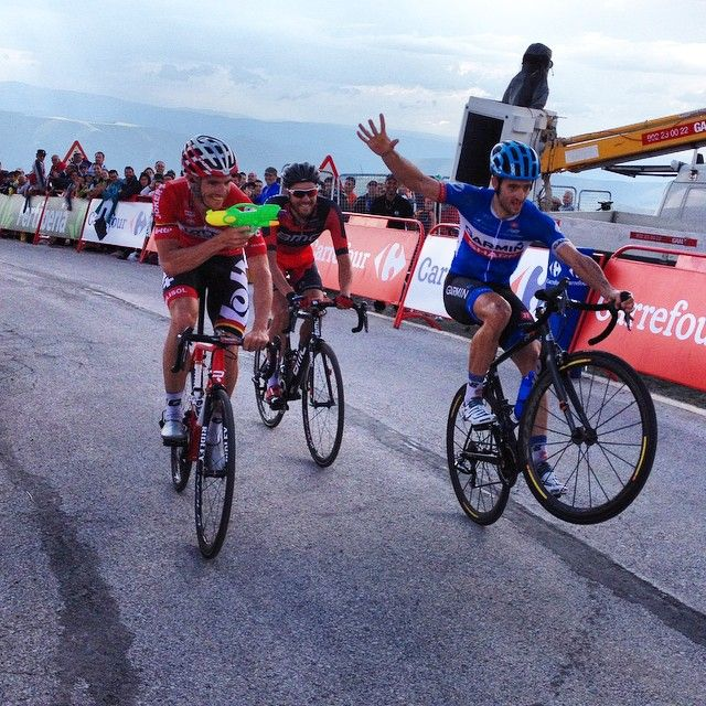 Nathan Haas and Adam Hansen on the Ancares finish line