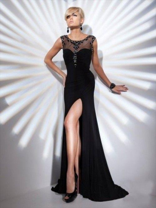 Sheath/Column Scoop Beading Sleeveless Floor-length Chiffon Dress