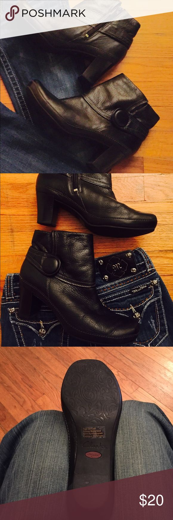 Clarks Black Leather ankle boots. Comfortable and great condition! Clarks ankle boots with zippers! Clark's Shoes Ankle Boots & Booties