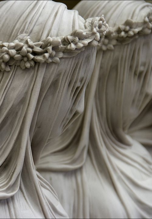 Veiled figures, Raffaelo Monti (1818–1881) Great example of fabric folds in a diaphanous-type fabric.