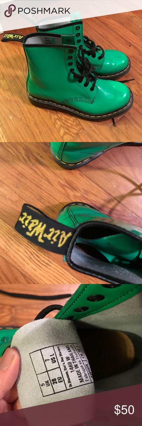 Vintage vegan bright green Doc Martens Vegan, rare. Bright green. Dr. Martens Shoes Lace Up Boots