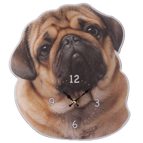 #cute #pug PRICE £9.49 Lovely Pug Dog Wall Clock made from MDF and with a standard plastic clock movement that requires 1 AA battery. Dimensions: Height 28.5cm Width 25cm Depth 4cm. More cute novelty Pug Dog items to see on our website!