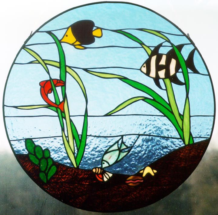 Fish camp 720 710 pixels stained glass for Stained glass fish patterns