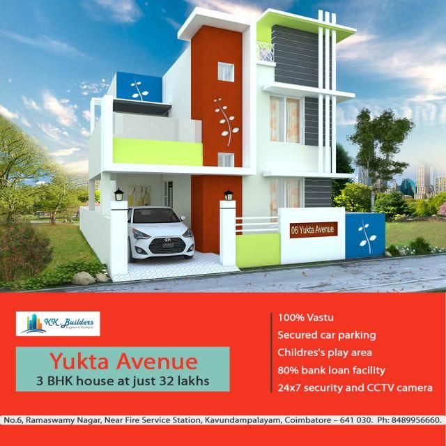 """Yukta Avenue We at KK Builders have launched """"Yukta Avenue"""" with an epitome of exquisite elegance and absolute comfort. Our villas are unique in design and we offer you a lavish lifestyle with excellent connectivity to all the parts of the city, pleasant ambiance, quality construction and comfortable living and we provide with the best amenities at a very affordable cost. We ensure that """"Yukta Avenue"""" is definitely going to be a unique destination of your dreams."""