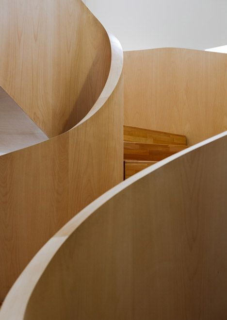 Maple staircase inside the National Olympic Committee House by Architects of Invention.