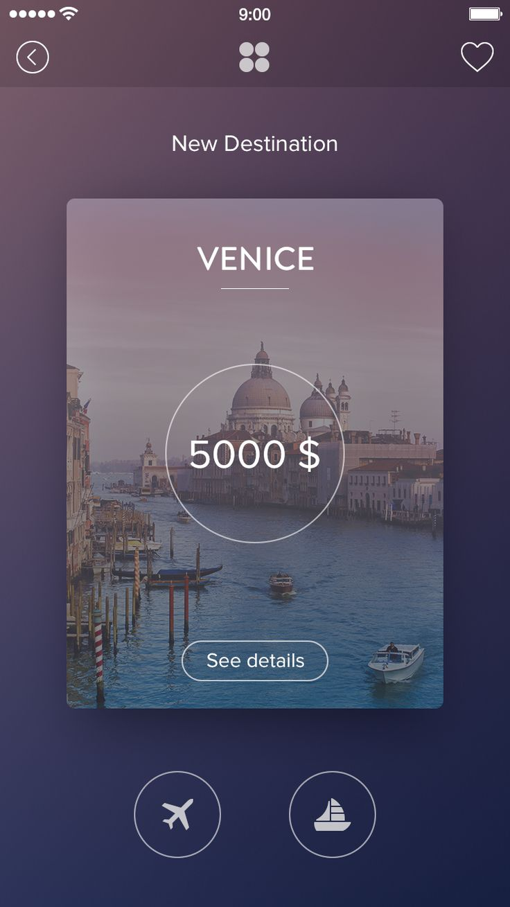 Venice card full, mobile, UI, travel, app