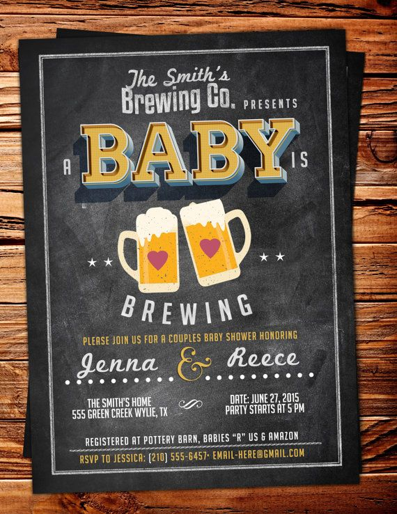 Baby is brewing, Coed baby shower invitation- Beer baby shower invitation…