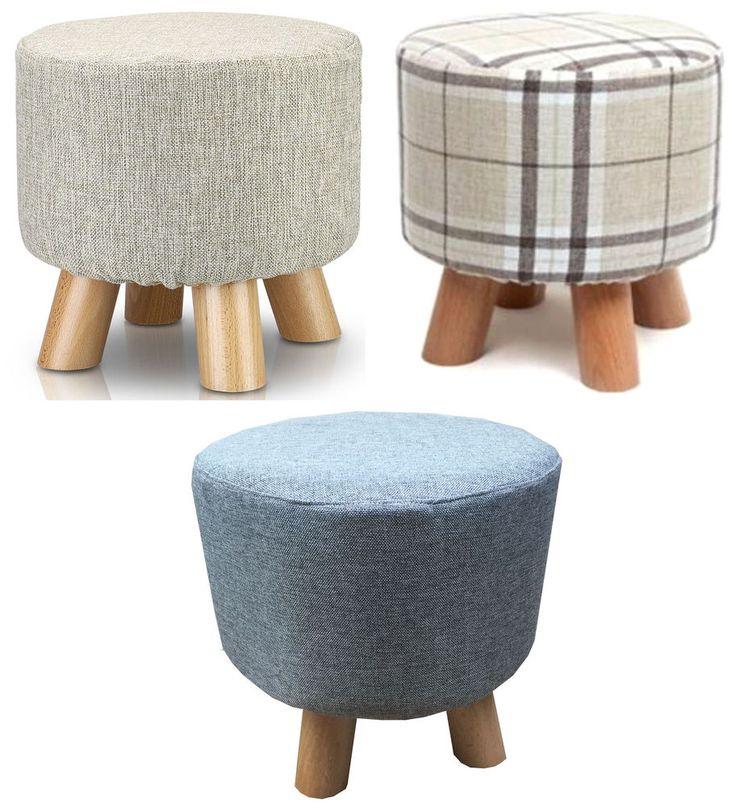Oak Upholstered Round Footstool Ottoman Pouffe Padded Stool Solid Wooden Legs UK