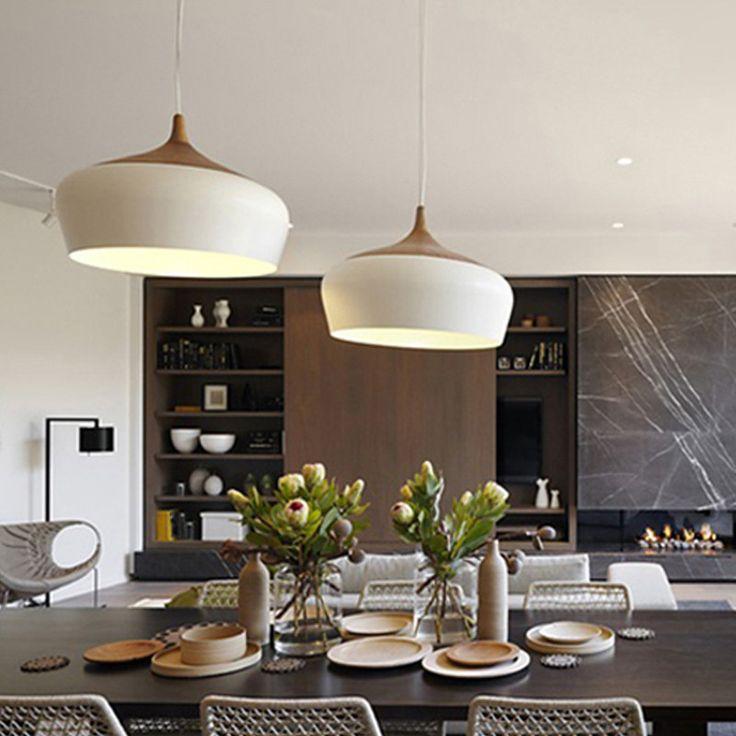 Modern Pendant Light Oak Wood Lamp   300mm / 350mm