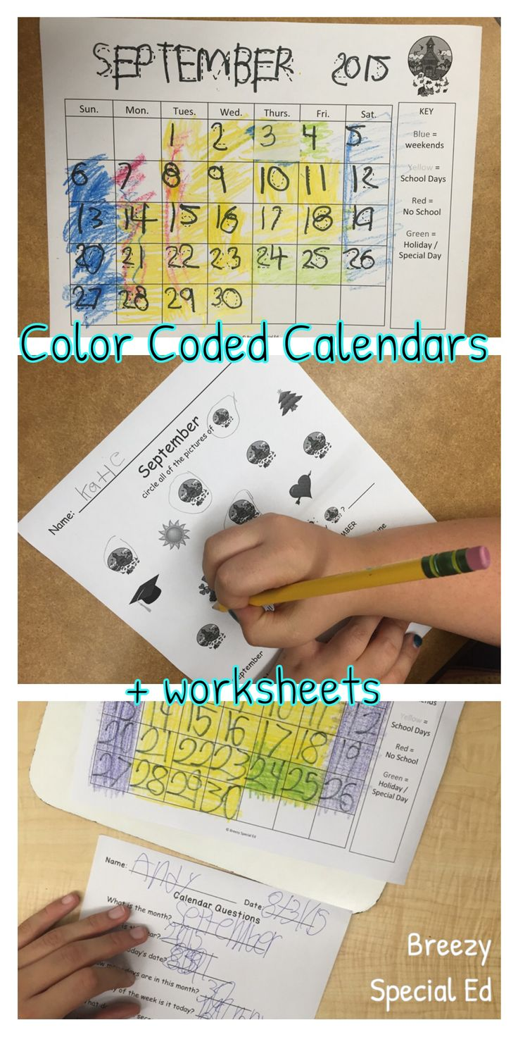Visual Color Coded Calendars And Calendar Worksheets For