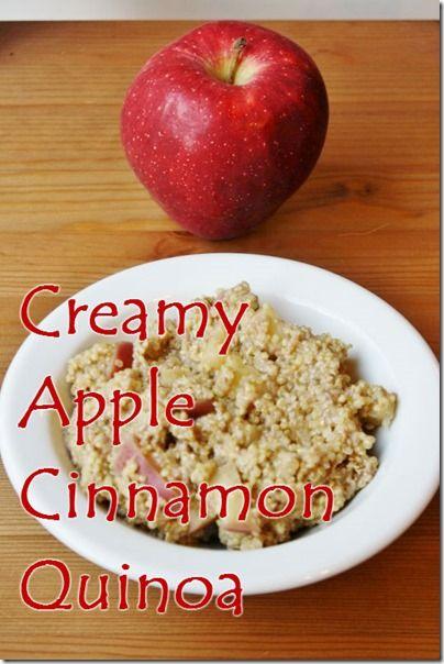 Creamy Apple Cinnamon Quinoa Recipe- Apple, quinoa, cinnamon, almond milk, chia seeds