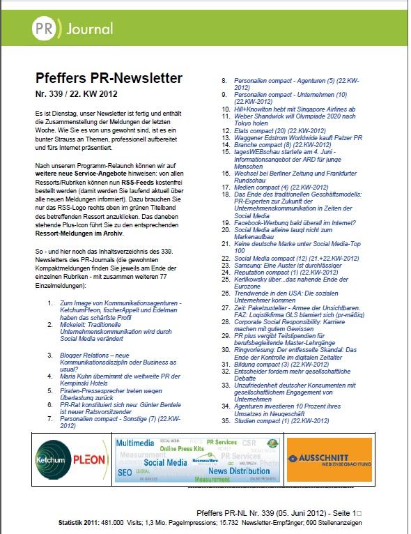 Startseite von Pfeffers PR-Newsletter Nr. 339 des PRJournals (05. Juni 2012) - Stichworte: Piraten-PR-Probleme, Bentele PR-Ratschef, H+K fliegt Singapore, tagesWEBschau, Samsung, GLS blamiert sich