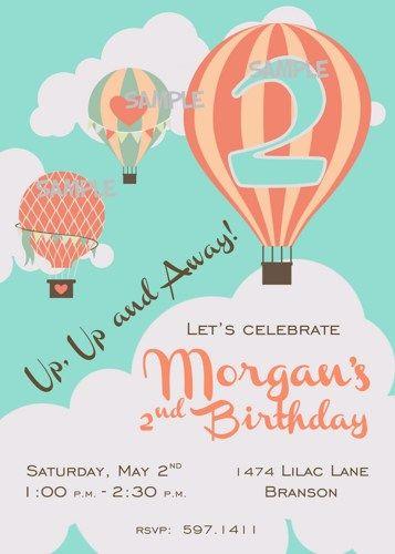 Hot Air Balloon Themed Printable Birthday Party Invitation