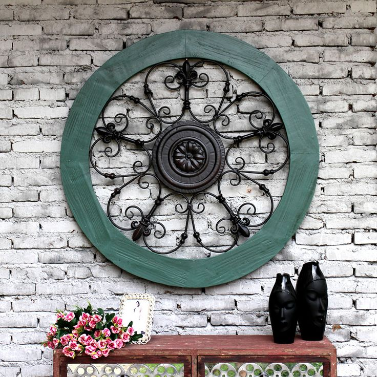 Творческий Ретро стиль дизайна дома твердая древесина Утюг тиснением цветы большие круглые стены украшены декоративной стены кулон купить на AliExpress