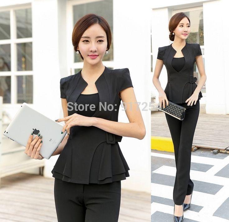 Formal Pantsuits Elegant Black 2015 Summer Uniform Style Business Women Trousers Suits Office Ladies Blazers Jacket And Pants