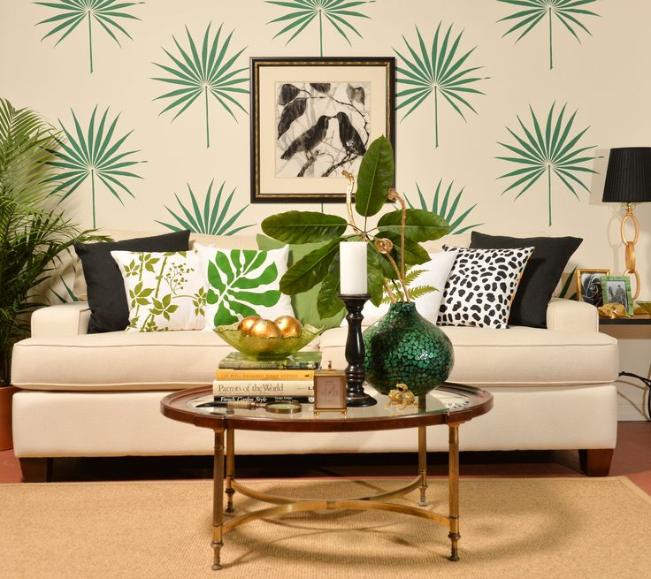 A DIY Stenciled Living Room Accent Wall Using The Palmetto Leaf Art Stencil For