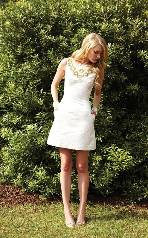 Lilly Pulitzer Fall '13- Wythe Dress in Cameo White Metallic Scallop Jacquard