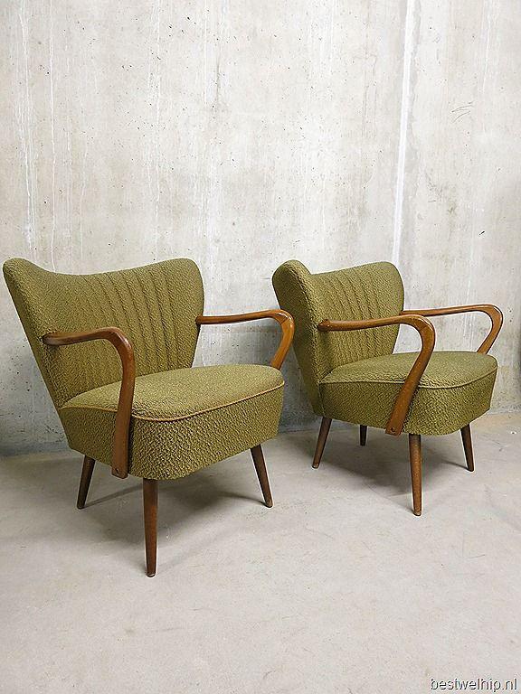 cocktail stoelen olijf groen deense stijl armchairs cocktail chairs Danish style